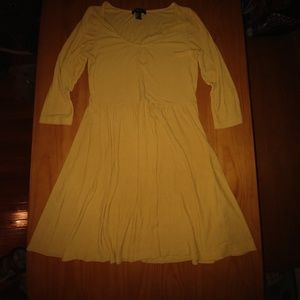 Forever 21 mustard skater dress L *like new*